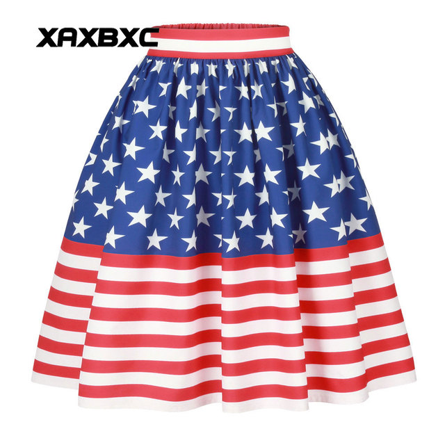 aa6bdea6146115 XAXBXC 002 NEW Summer Sexy Girl Princess Bubble Skirt Old Glory USA Flag  American Prints Skater Pleated Knee Midi Women Skirt