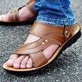 Nova chegada 2017 sandálias masculinas de verão homens sapatos de couro genuíno sandálias de dedo aberto chinelos moda casual couro sapatos de praia