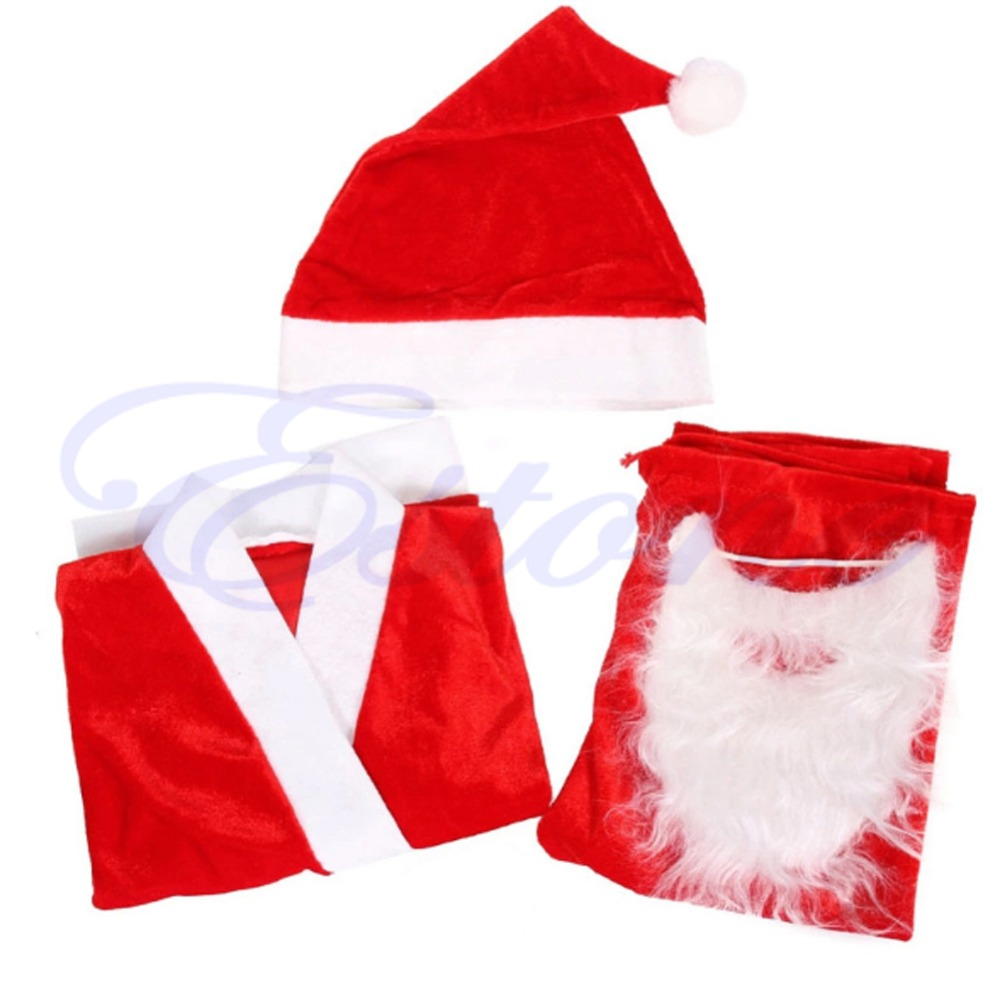 NEW 1 Set Fancy Christmas Santa Claus Costume Children Suit Boy's Outfits Dress Set deluxe santa christmas santa claus wig beard set christmas fancy dress claus beard heat resistant cosplay full hair wigs