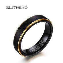 BLITHEYO Black Tungsten Rings for Men 5MM Thin Gold-color Wedding Rings for Male Jewelry