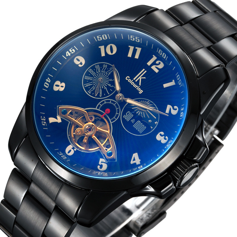 IK Colouring Men Automatic Self-Wind Mechanical Watches Full Steel Moon Phase Fashion Casual Digital Sports Watch ik colouring luxury men watches hand wind mechanical watch full steel fashion casual male clock sport wristwatch relojes hombre