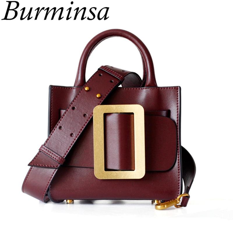 Burminsa Fashion Small Genuine Leather Handbags Wide Strap Ladies Shoulder Bags Unique Designer Crossbody Bags For