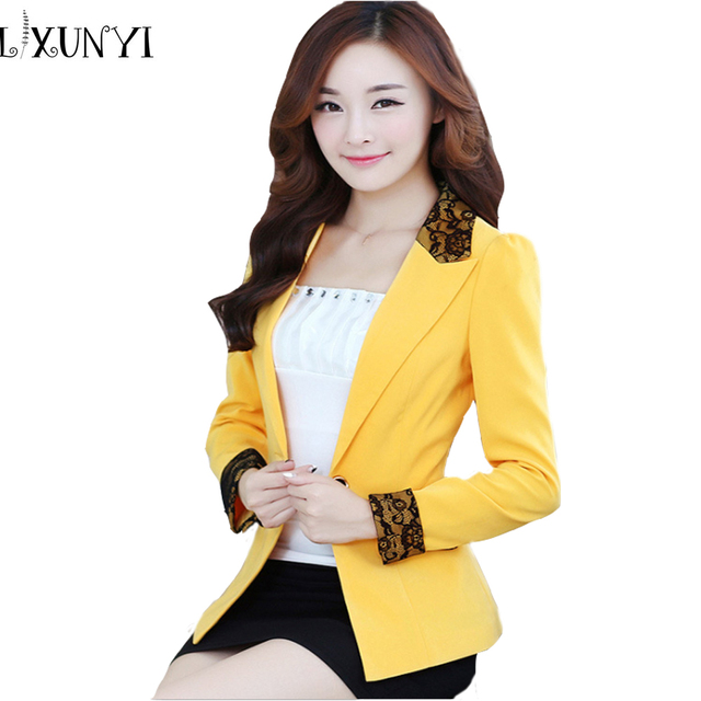 Spring Fall 2017 Slim Fit female Long sleeve Women Blazers and Jackets Plus Size Patchwork Lace Suit Jacket women work blazer