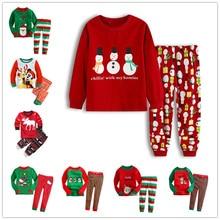 Рождественский детский пижамный комплект для девочек, хлопковый новогодний пижамный комплект с длинными рукавами, хорошее качество, милый детский Пижамный костюм с принтом