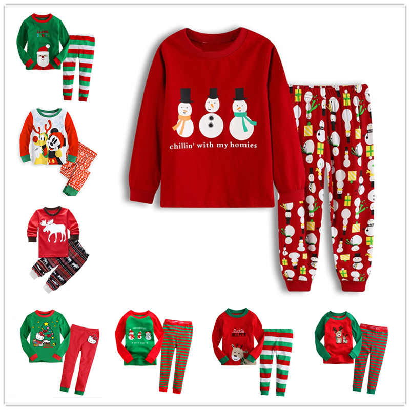 Christmas Children's Pajamas Set Girls Cotton New Years Sleepwear Set Long-sleeved Good Quality Print Cute Kids Pajamas Suit