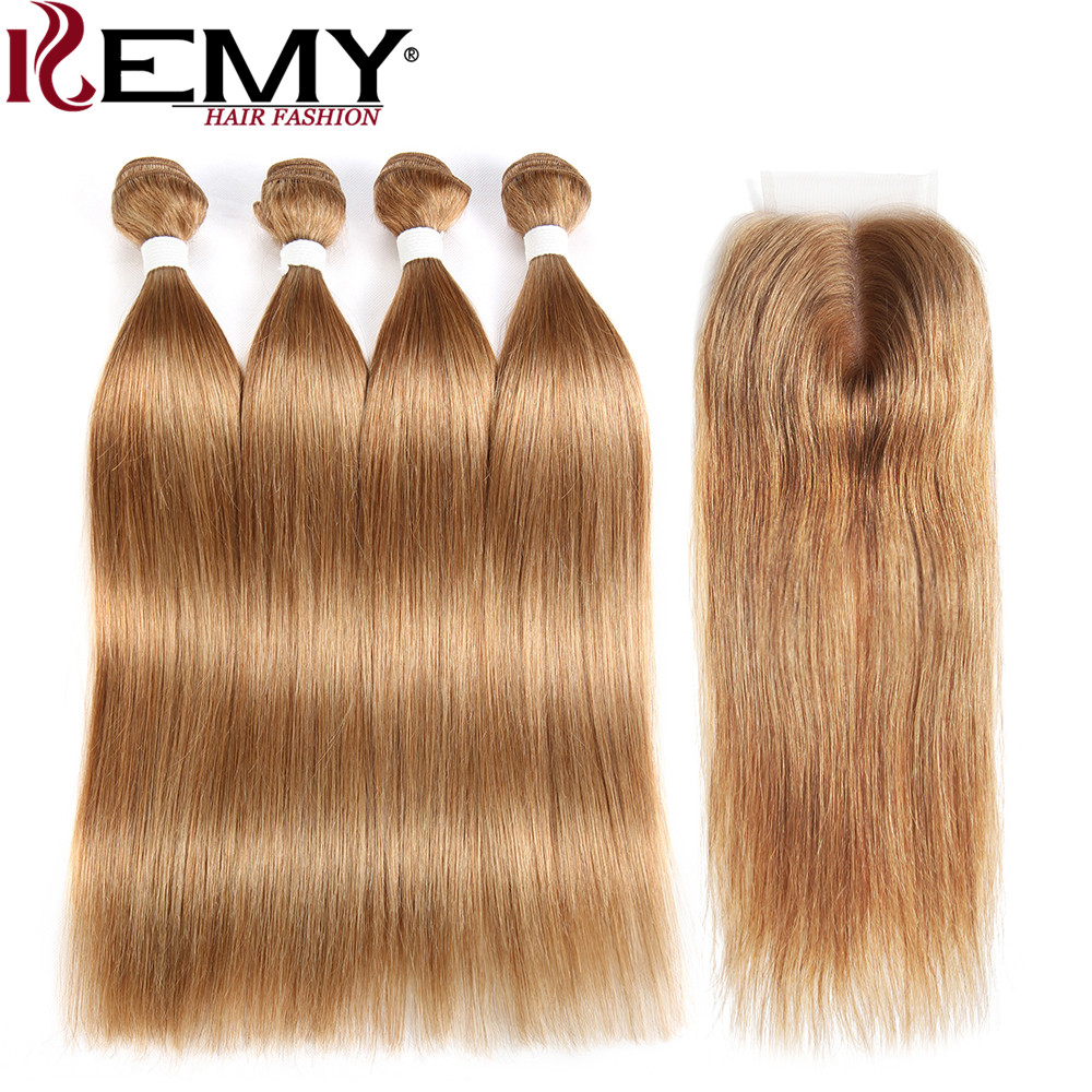 KEMY HAIR Brazilian Straight 4 Bundles Human Hair With Closure 4*4 Pre-Colored Non-Remy 100% Human Hair Weaves Light Brown 27#