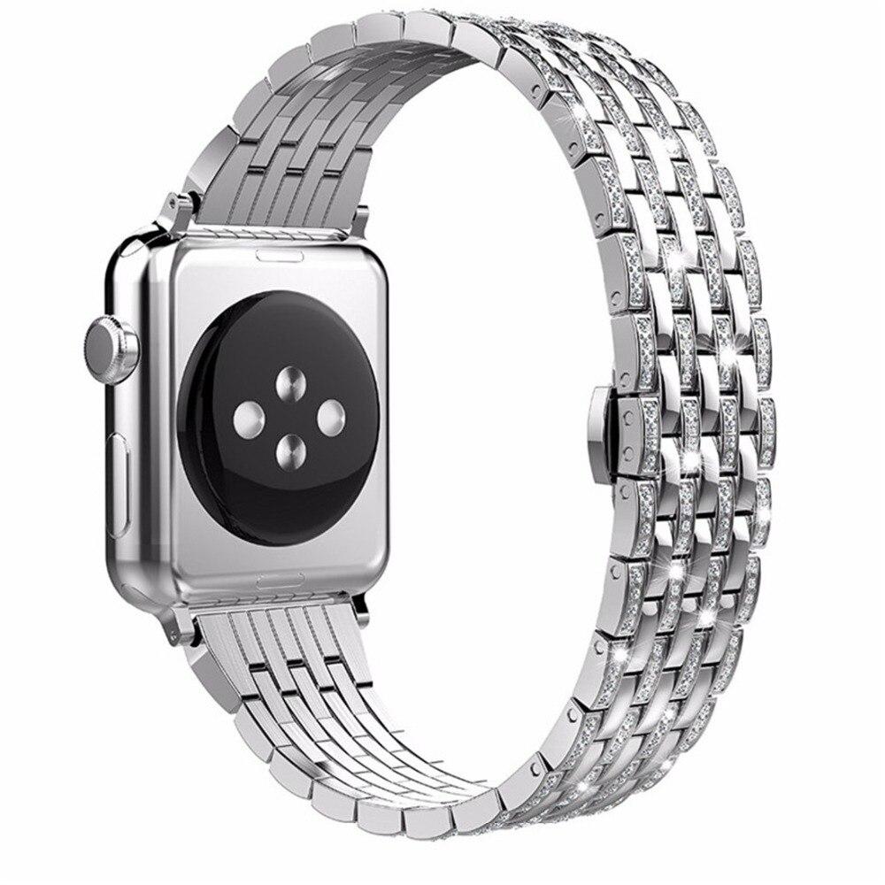 CRESTED Diamant edelstahl strap Für Apple Uhr band 44mm/40mm iwatch serie 4 3 2 1 handgelenk armband butrery Schleife correa