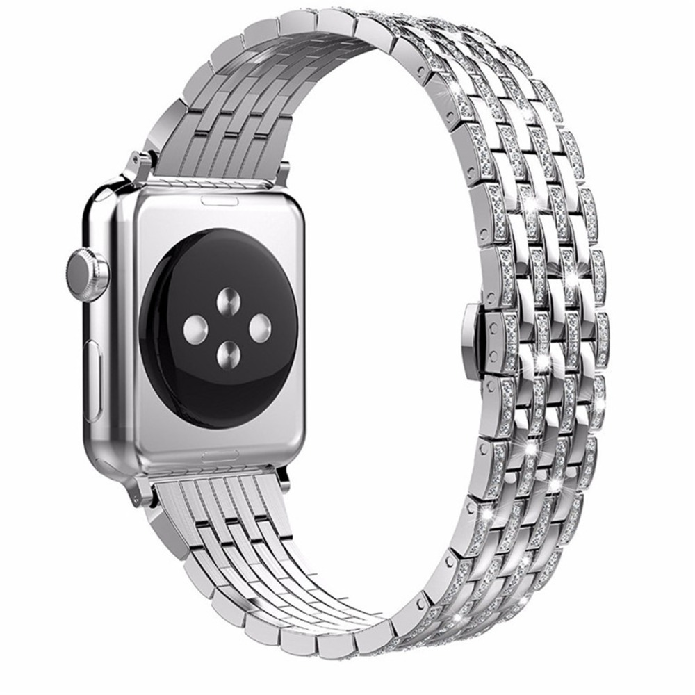 CRESTED Diamant edelstahl strap Für apple watch band 42mm/38mm iwatch serie 3 2 1 armband armband butrery Schleife correa