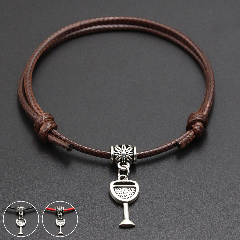 2020 New Red Wine Glass Pendant Red Thread String Bracelet Lucky Black Coffee Handmade Rope Bracelet for Women Men Jewelry