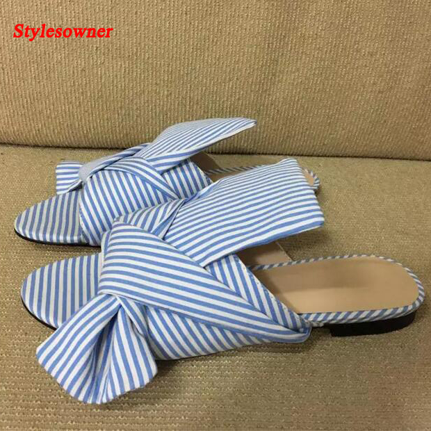 Stylesowner 2017 New Fashion Women Stripe Slippers Blue Big Bow Tie Slides Summer Flat Sandals Casual Shoes Woman Flats Zapatos new 2018 shoes woman sandals wedges lovely jelly shoes solid casual slippers summer style fashion slides flats free shipping