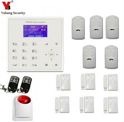 YobangSecurity Wifi Wireless Security Alarm System GSM SMS Android APP Wireless Home Burglar alarm system Outdoor Wireless Siren yobangsecurity touch keypad wireless home wifi gsm alarm system android ios app control outdoor flash siren pir alarm sensor