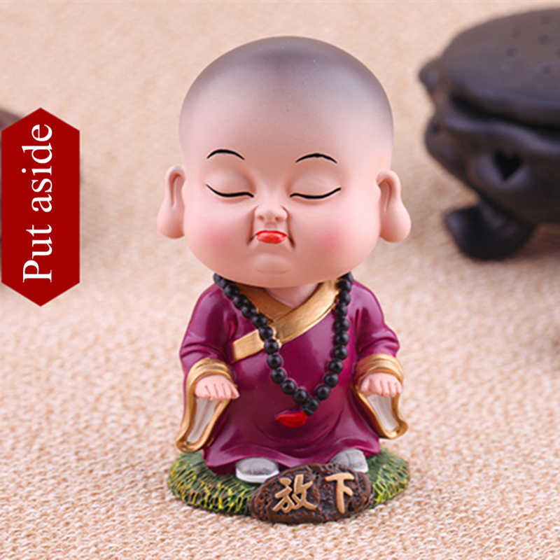 Chinese Lovely Resin Nodding Monk Decorative Shaking Head Buddhist Tabletop Ornaments Birthday Gift Home Car Decoration
