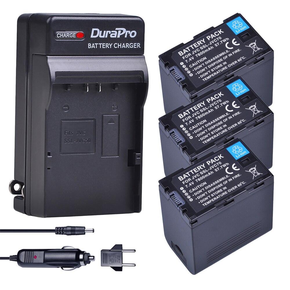 3 pc 7800 mAh SSL-JVC70 SSL JVC70 Batterie & Voiture/Chargeur Mural pour JVC50 70 JVC GY-HM600 GY-HM650 GY-HMQ10 GY-HM200 GY-LS300 Caméra