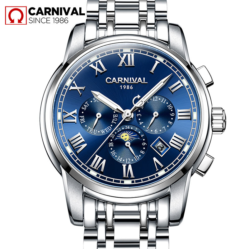 Carnival Watch Men Moon Phaes Automatic Mechanical Silver Stainless Steel Waterproof multifunction Blue Dial Watches