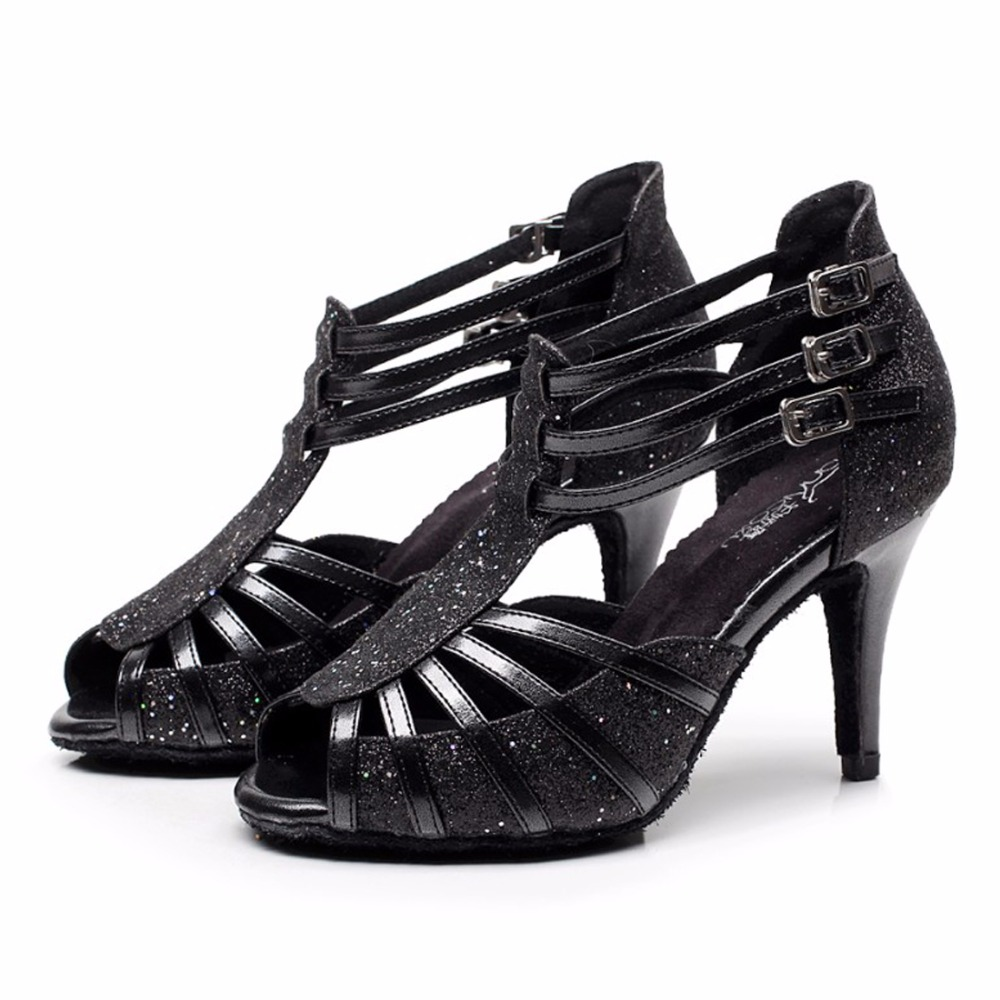 Women Ballroom Latin Dance Shoes Sexy Pu Leather Female Salsa Sandals Social Party Tango Samba Dance Shoes Heel 6/7.5/8.5cm 1833