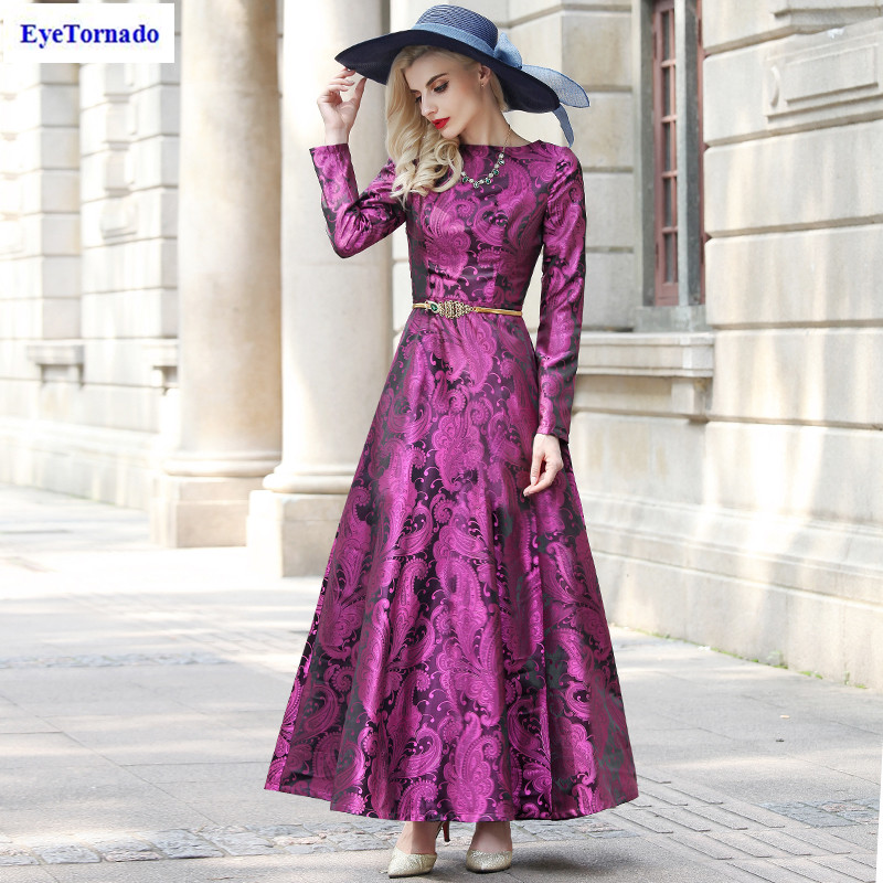 Women Floral print dobby vintage dress long elegant work party ball maxi ball gown dresses vestido plus size 7096 plus size butterfly print ball gown dress