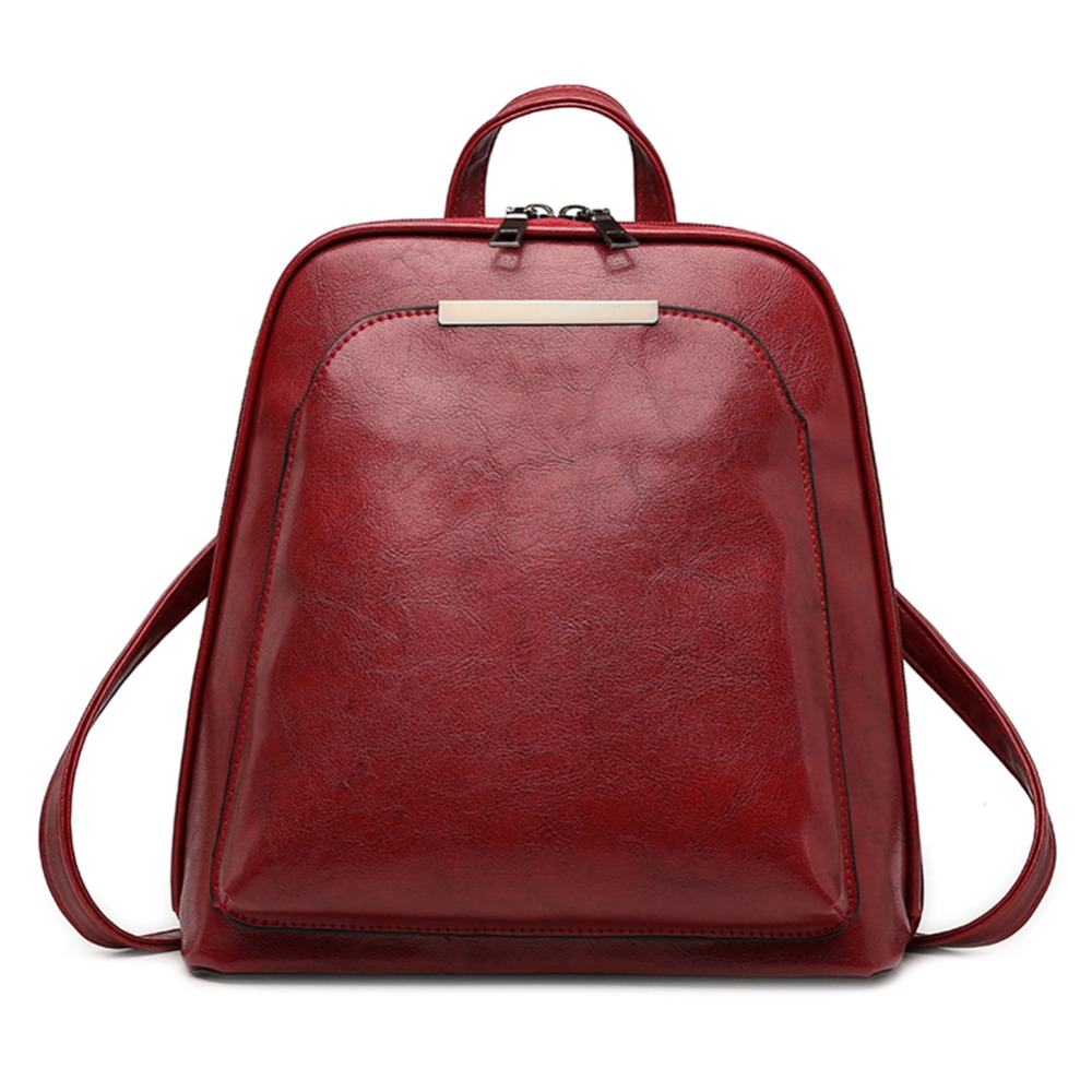 8917895d4193 Винтажный масляный воск кожаный рюкзак для женщин большой емкости школьная  сумка для девочек Досуг плеча дорожные