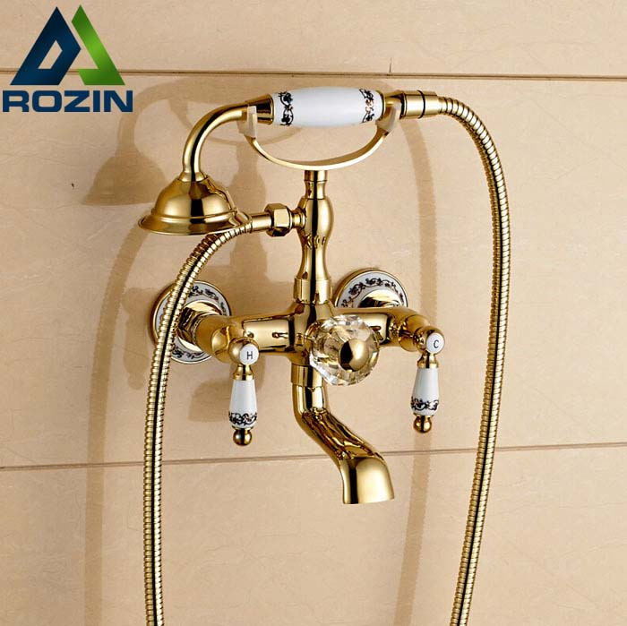 Luxury Wall Mount Swivel Spout Bathtub Faucet Telephone Style Bathroom Tub Shower Mixer Tap Dual Handles