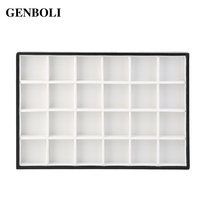 GENBOLI 24 Grids Practical Necklace Display Tray Jewelry Accessories Case Necklace Pendants Plate Jewelry Organizer Box