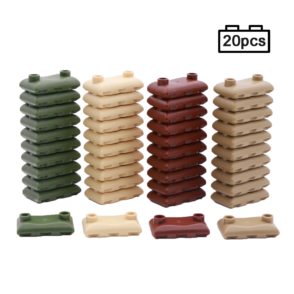 LegoINGlys Military Scene Weapon Pack Sandbag Building Blocks WW2 Army Soldier Figure Accessory Wall MOC Brick Toys For Children