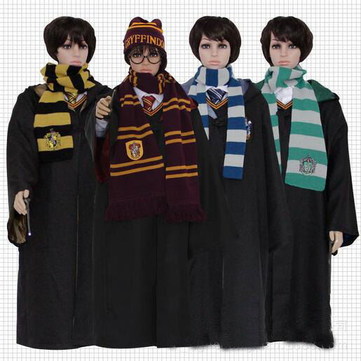 Stock Adult And Kid Hufflepuff Slytherin Ravenclaw Gryffindor Harry Costume(Cloak,Magic wand,Scarf and tie) form Harry cosplay