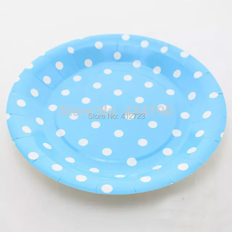 wedding cake plates and napkins 7inch blue amp white polka dots paper plates dinner plate cake 23504