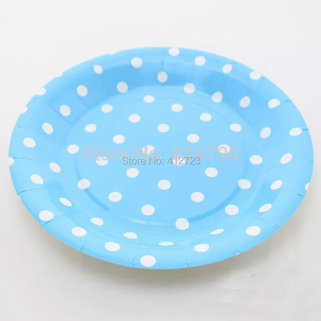 7inch blueu0026white polka dots Paper Plates dinner plate cake plate Wedding baby shower Birthday Party Decorations  sc 1 st  AliExpress.com : paper cake plates - pezcame.com