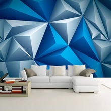 3D Murals Wallpaper Modern Stereoscopic Blue Geometric Space