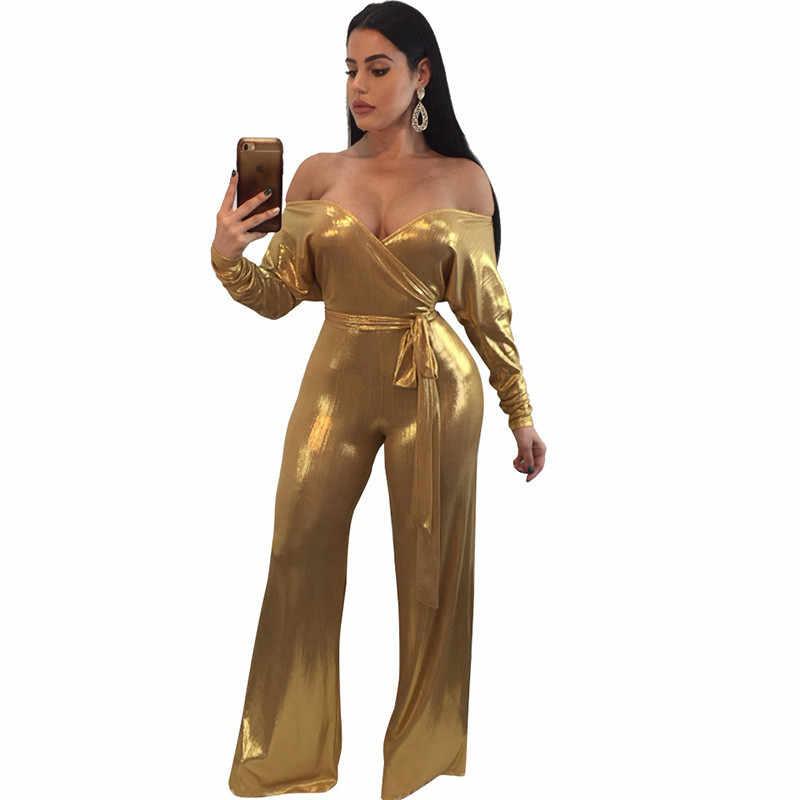 Модный Блестящий Золотой комбинезон из искусственной кожи с открытыми плечами для женщин с v-образным вырезом и длинными рукавами роскошный клубный вечерние широкие брюки комбинезоны