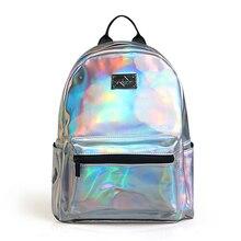 Мода Mochila рюкзак Лазерная Рюкзак леди Мешок кожи голографический рюкзак серебро голограмма
