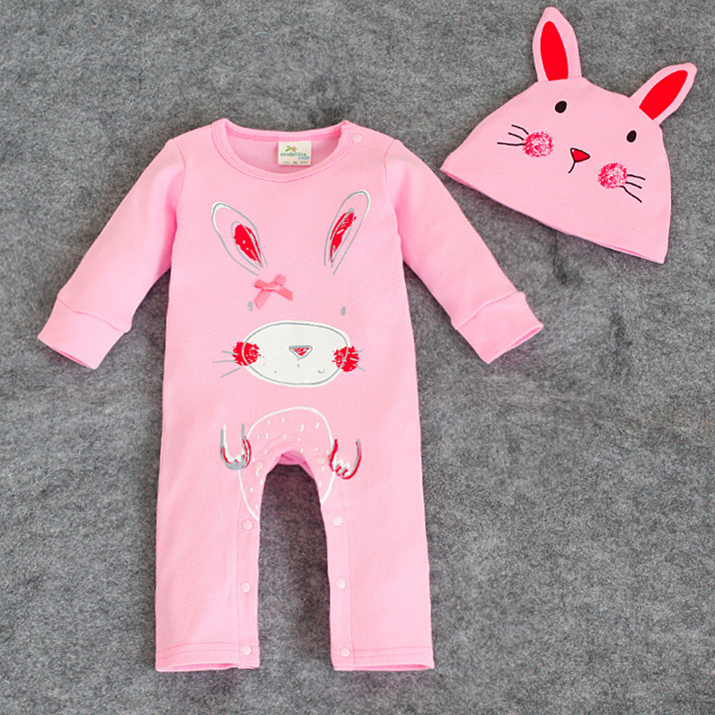 2017 Spring Autumn Newborn Baby Girl Clothes Cartoon Pink Romper +Hat Cotton Clothing Set Bebe Overalls Infant Jumpsuits Rompers newborn baby rompers baby clothing 100% cotton infant jumpsuit ropa bebe long sleeve girl boys rompers costumes baby romper