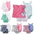 2017 summber importado bebes menina roupa do bebê set, crianças de verão recém-nascidos roupas infantis 3 pcs de set vestidos de festa