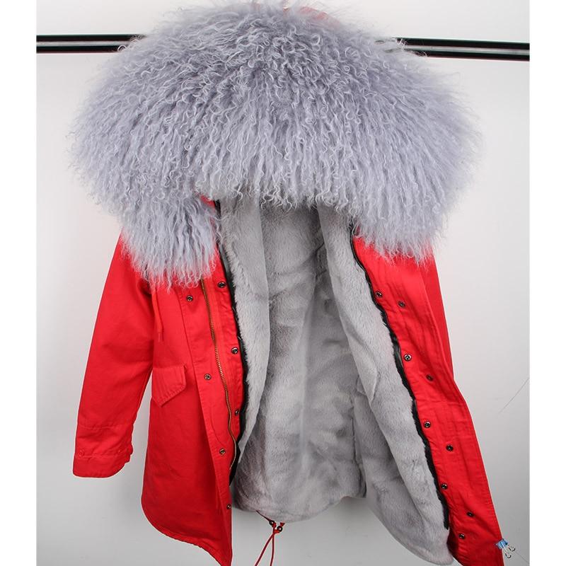 Chaqueta de lana de Invierno para mujer abrigo de moda con capucha Parkas abrigo de invierno de calidad para mujer Parka de piel natural-in piel real from Ropa de mujer    3