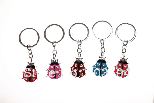12Pcs/Lots  Enamel Alloy Metal Ladybug Car Key Chain Women Key Rings