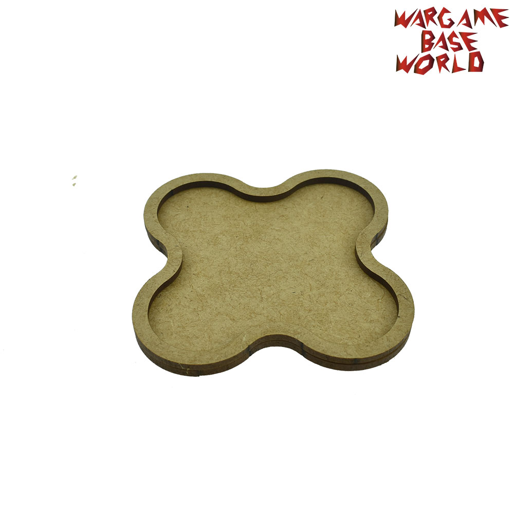 Wargame <font><b>Base</b></font> World - Movement Tray - 5 <font><b>bases</b></font> <font><b>32mm</b></font> <font><b>round</b></font> - Star Shape MDF image
