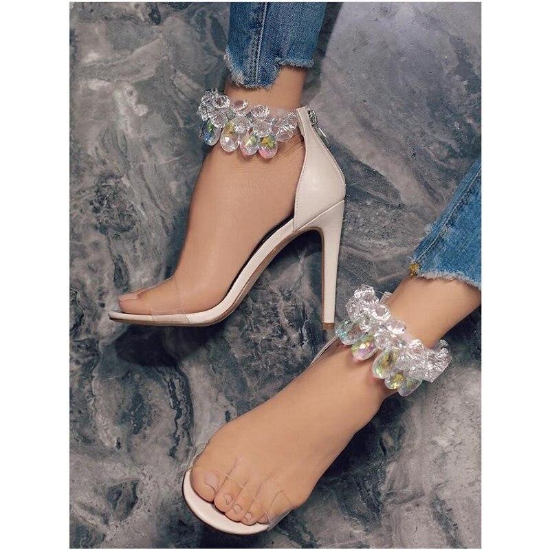 11CM Luxury Rhinestone Tassel High Heel Sandals Women Zipper Stilettos Pumps Thin Sandals Ladies Wedding Party Sexy Shoes 35 42