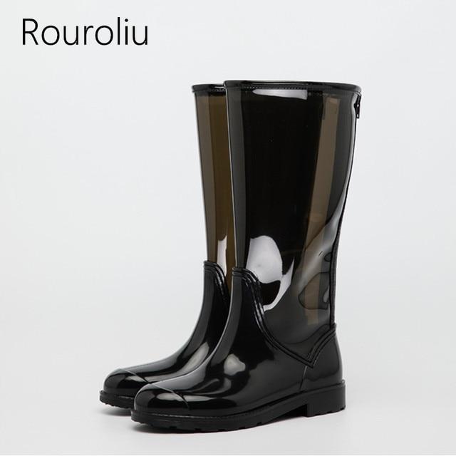 Rouroliu Modo Delle Donne del Ginocchio-Alta Trasparente Rainboots Acqua Scarpe  Impermeabili stivali di Gomma 6c646abe6b6