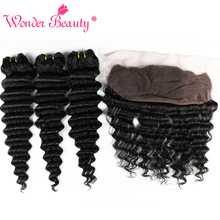 Wonder Beauty Afro Deep Wave Hair 3 Bundles With Frontal Human Hair Extension NonRemy Brazilian Hair Weave Bundles With Closure