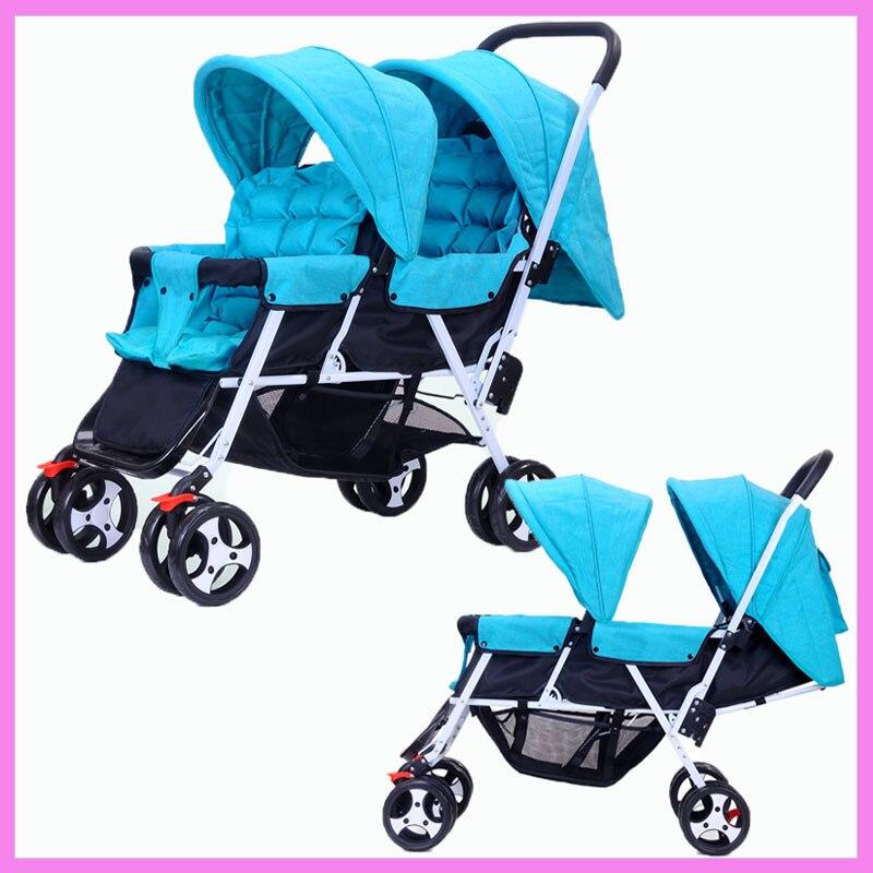 Близнецы Детские Коляски складной kinderwagen 2 в 1 двойной коляска для двойни может сидеть лежа зонтик Багги Детские коляски Коляска