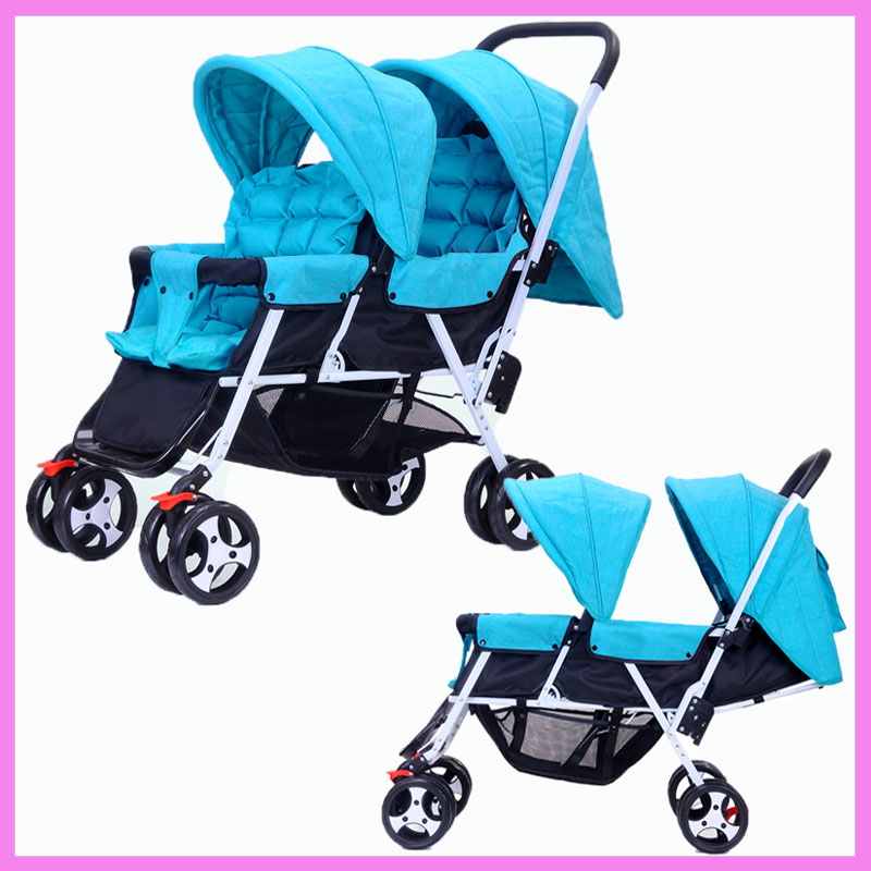 Фото Twins Baby Stroller Foldable Kinderwagen 2 In 1 Double Stroller for Twins Can Sit Flat Lying Umbrella Buggy Baby Pushchair Pram