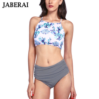 JABERAI 2017 Tie Dye Bikini High Neck Halter Crop Women Swimsuit Swimwear Print Bikini Set Brazilian