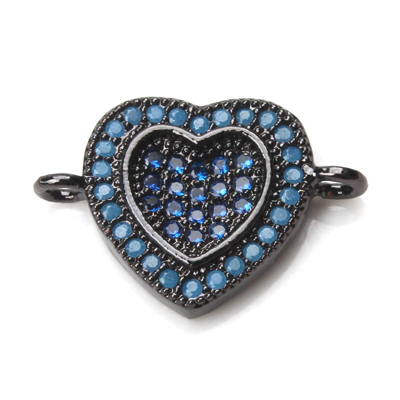 EVIL EYE 1pc 11 * 16mm Copper Heart Crystal Charms Connectors Micro Pave CZ Heart Rate M ...