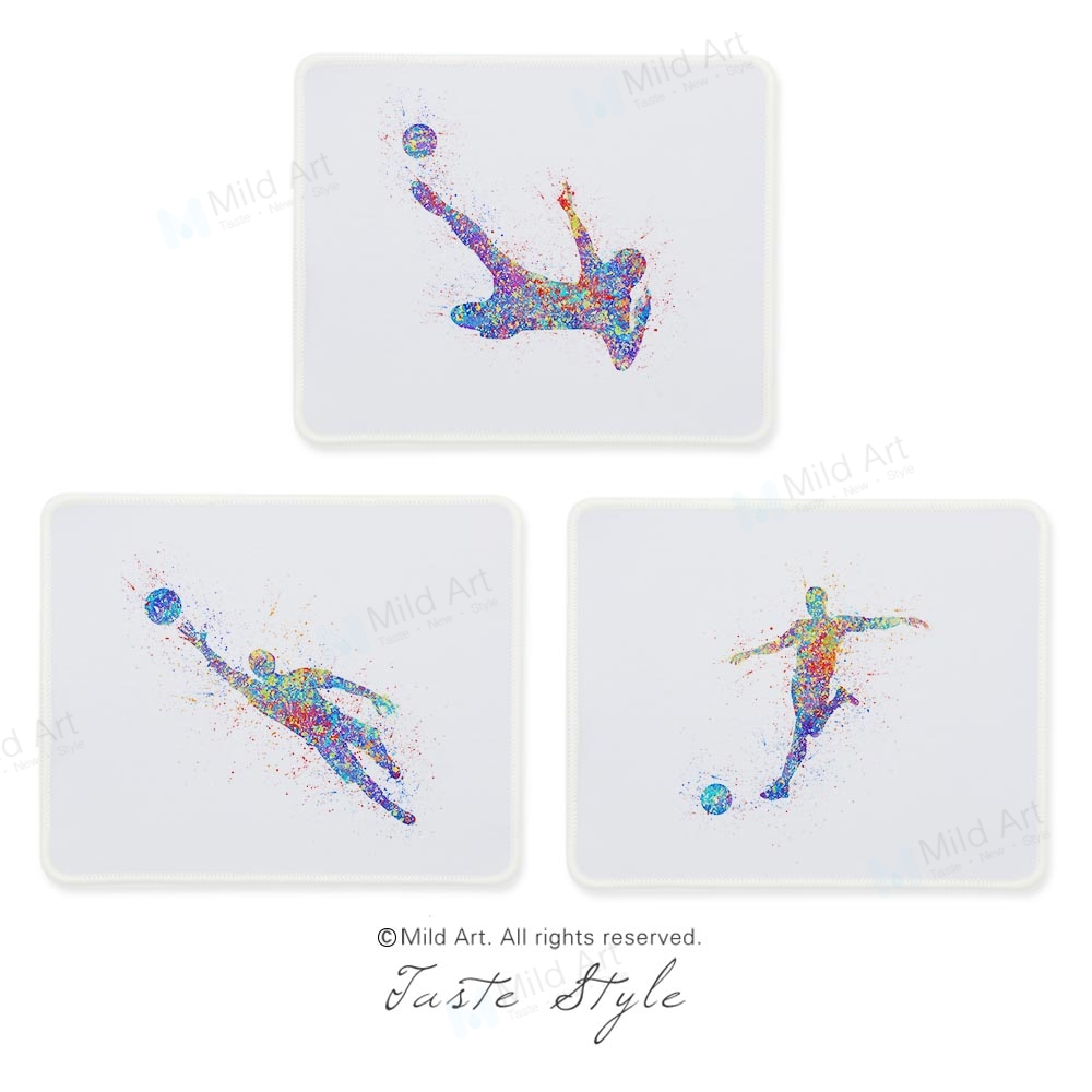 Watercolor Soccer Football Figure Sports Player Print Unique Creative Man Gifts PC Desk Laptop Gaming Computer Mouse Pad Mat Set