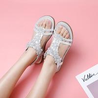 HEYIYI Women Sandals Platform Wedges Round Toe Soft Sole Flat EVA Comfort Fashion Gold T Strap