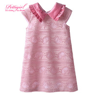 New Design  Peter Pan Collar Pink Girl Lace Dress Fashionable Girl Casual Dresses Retail Kids Wear DMGD81127-20L