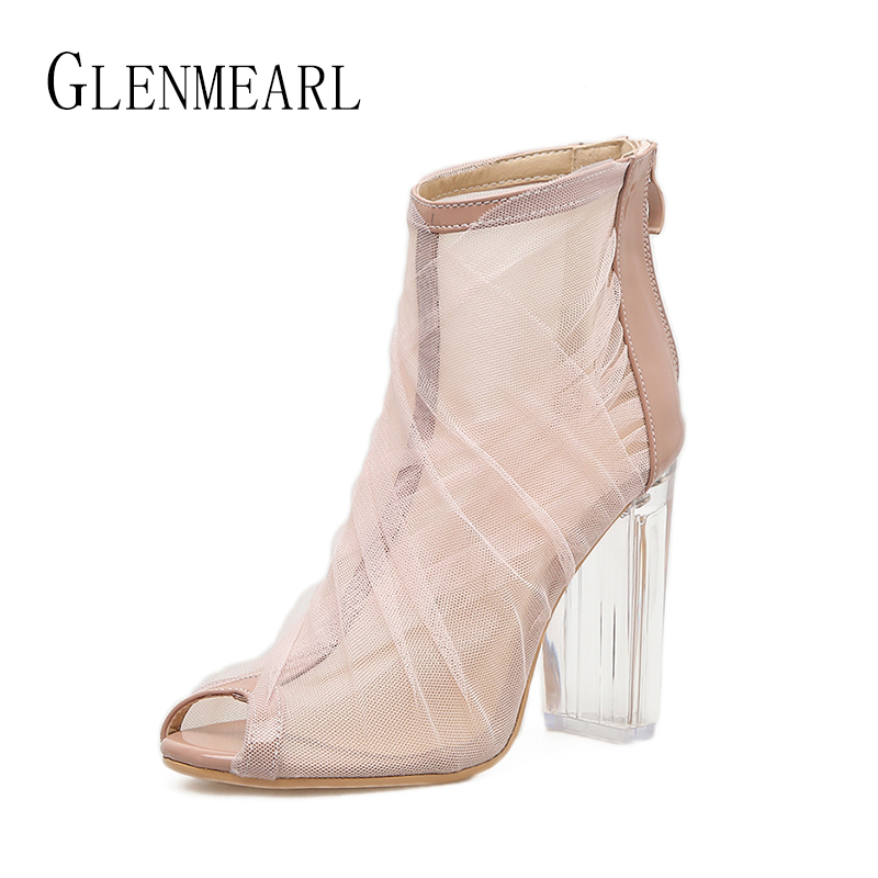 2018 Roman Woman Shoes High Heels Pumps Spring Brand Mesh Shoes Women Thick Heels Transparent Peep Toe Ankle Boots Female 45 hihopgirls 2018 new spring women pumps peep toe high heels shoes square heel ankle cross stap sexy transparent pvc boots woman