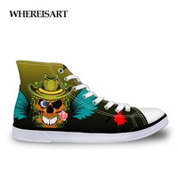 WHEREISART Canvas Shoes For Teens Boys Graffiti Skull Printing High Top Sneakers Men Flats Lace Up Shoes Male Vulcanize Shoes