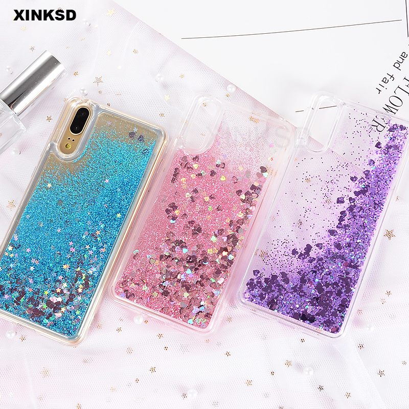 Phone Case for Huawei On Honor 7C 7A 10 8 9 lite 6A 6C Pro P Smart P20 P8 P9 lite Silicone Glitter Dynamic Liquid Quicksand Case