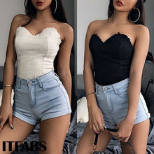 Women Slim-chested Tube Tops Sexy Sleeveless V-Neck Wrapped Chest Tank Elastic Strapless Crop