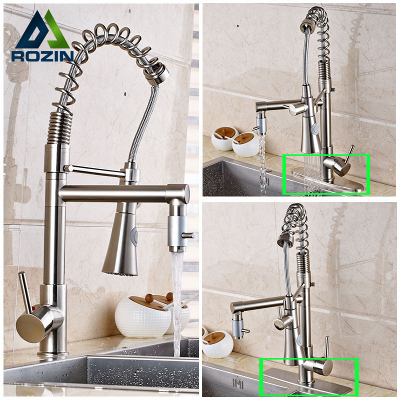 Good Quality Single Lever Dual Spout Bathroom Kitchen Sink Faucet sSpring Pull Downwith Side Spout Mixer